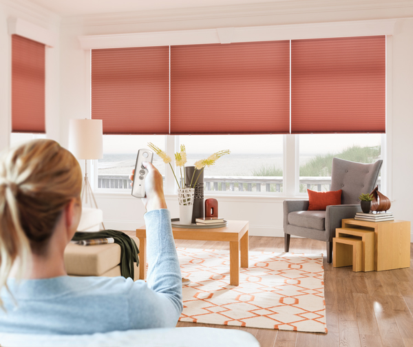 motorized window bintronic product electric blinds curtains wooden